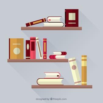Livros nas prateleiras