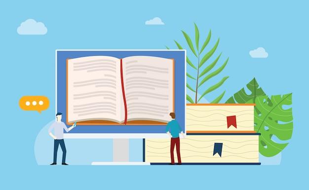 Livros on-line, lendo o conceito
