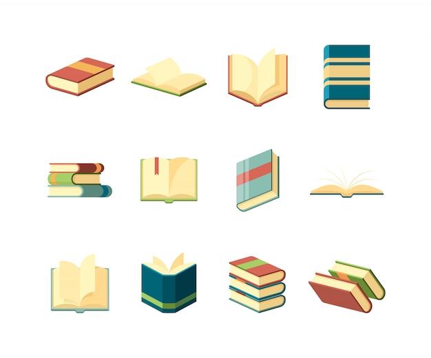 Livros. símbolos da biblioteca que aprendem a estudar o manual de informações cobrem a coleção de revistas