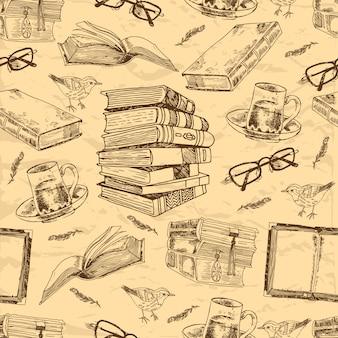 Livros vintage esboçar padrão sem emenda com xícara de chá de penas de pássaro e ilustração vetorial de óculos