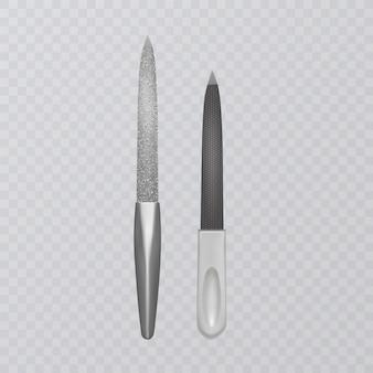 Lixas de unha realistas, ilustração de acessórios de manicure