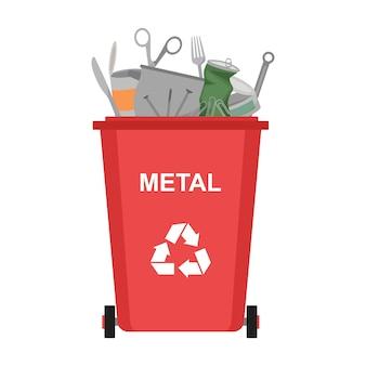 Lixeira com resíduos de metal, reciclagem de lixo, ilustração vetorial
