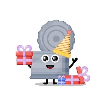 Lixeira de aniversário, mascote de personagem fofa