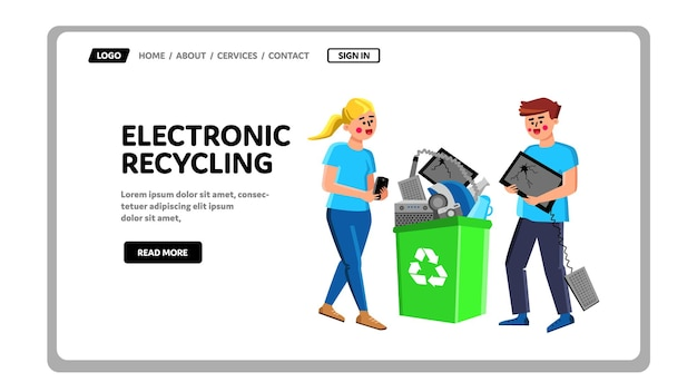 Lixeira de reciclagem eletrônica com vetor de gadgets. homem e mulher carregando dispositivos quebrados para a cesta de reciclagem eletrônica. personagens com equipamento elétrico danificado web flat cartoon ilustração
