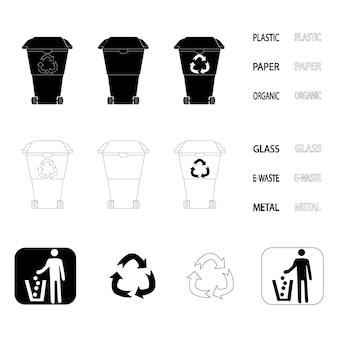 Lixeira de reciclagem. símbolo de resíduos de reciclagem. contorno e lata de lixo preta. coleção de latas de lixo em estilo glifo e contorno. vetor