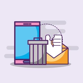 Lixeira de spam de e-mail para smartphone