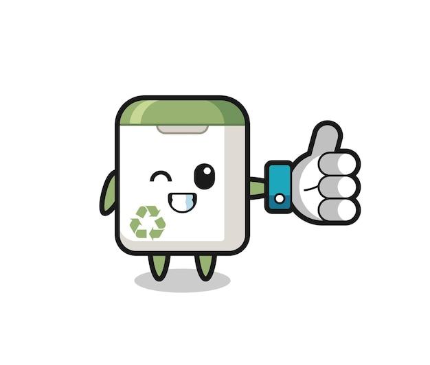Lixeira fofa com símbolo de polegar para cima de mídia social, design de estilo fofo para camiseta, adesivo, elemento de logotipo