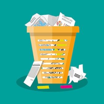Lixeira lixo ilustração vetorial plana lixo