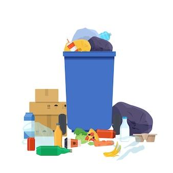 Lixeira transbordando e várias ilustração vetorial de lixo