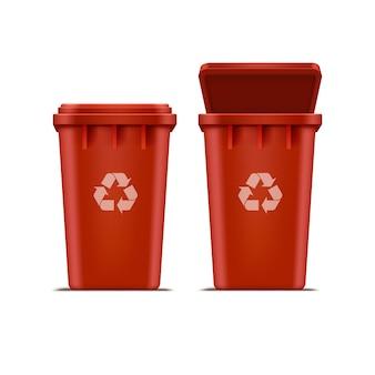 Lixeira vermelha para lixo e lixo isolado no fundo branco