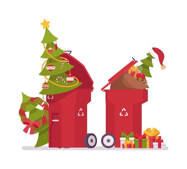 Lixeiras com árvores de natal, inúteis após o feriado