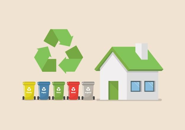 Lixeiras com ilustração vetorial de casa ecológica