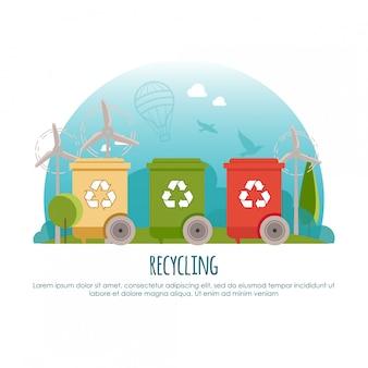 Lixeiras. gestão de resíduos e conceito de banner de reciclagem. página da web ou ilustração infodraphic