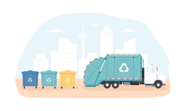 Lixeiras municipais e veículo de coleta de lixo ou caminhão de lixo coletando lixo contra a paisagem urbana moderna na superfície