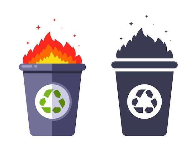 Lixo aceso na lata de lixo. incineração de resíduos. ilustração plana.