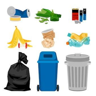 Lixo conjunto com caixas de lixo