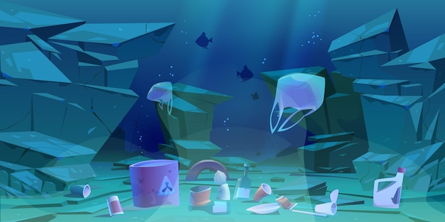 Lixo de plástico no fundo do oceano. fundo do mar com diversos tipos de lixo.