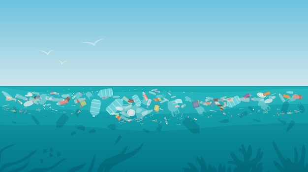 Lixo de poluição de plástico na superfície do mar com diferentes tipos de lixo