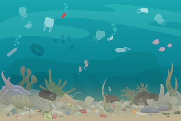 Lixo de poluição de plástico no fundo do mar com diferentes tipos de lixo