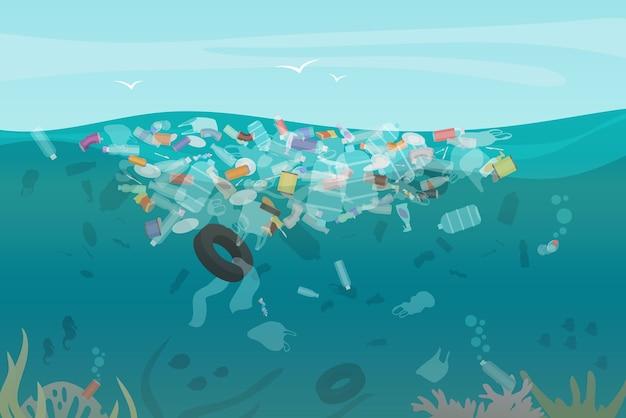 Lixo de poluição de plástico subaquático no oceano com diferentes tipos de lixo