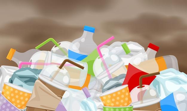 Lixo desperdiça plástico, poluição