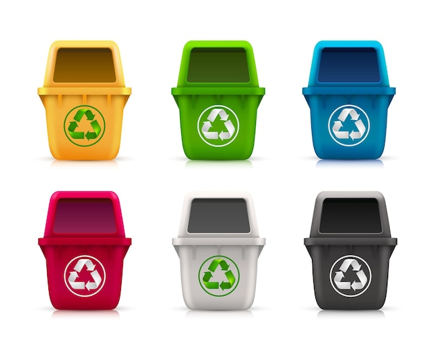 Lixo ecológico definido como cor da arte. ilustração vetorial