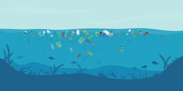 Lixo flutuando na água.