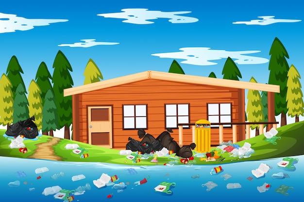 Lixo na casa de toras
