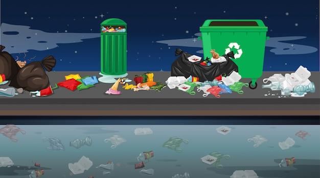Lixo na cena ao ar livre