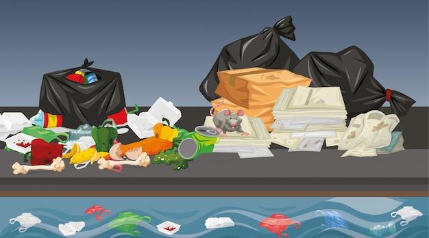Lixo na cena de rua