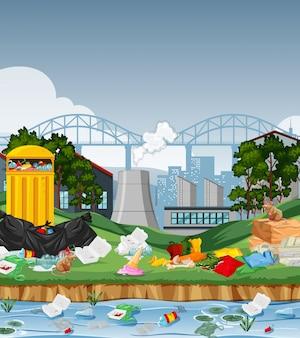 Lixo na cidade urbana