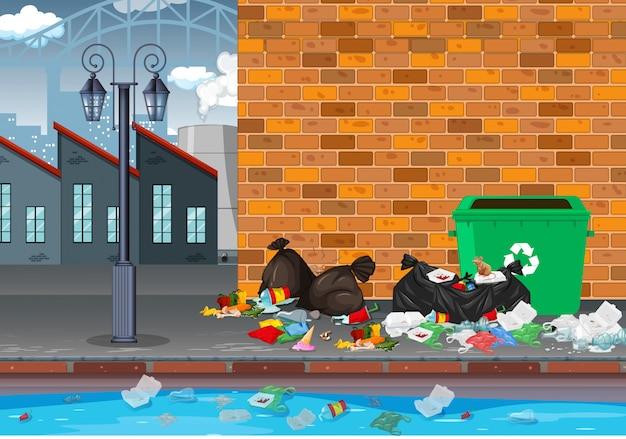 Lixo na paisagem da indústria