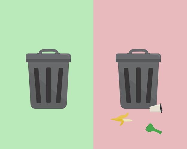 Lixo não classificado. depois do tanque. recipiente de metal dos desenhos animados com lixo.