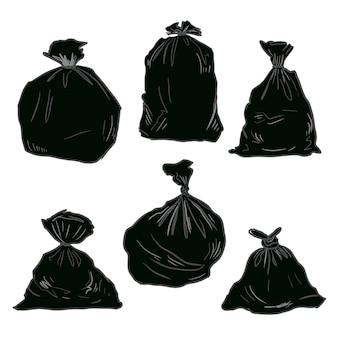 Lixo plástico preto