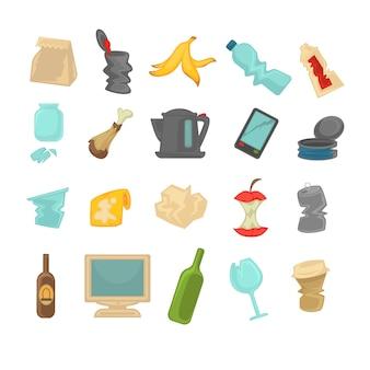 Lixo, triagem de resíduos alimentares, vidro, metal e papel