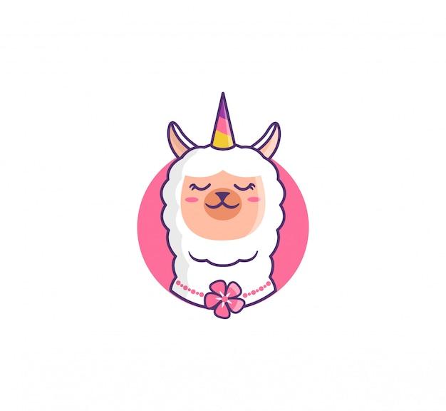 Llamacorn engraçado no círculo