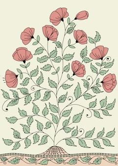 Llustration com um arbusto de rosas