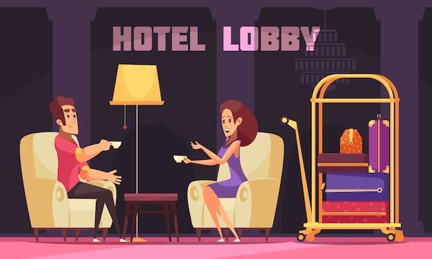 Lobby do hotel com clientes