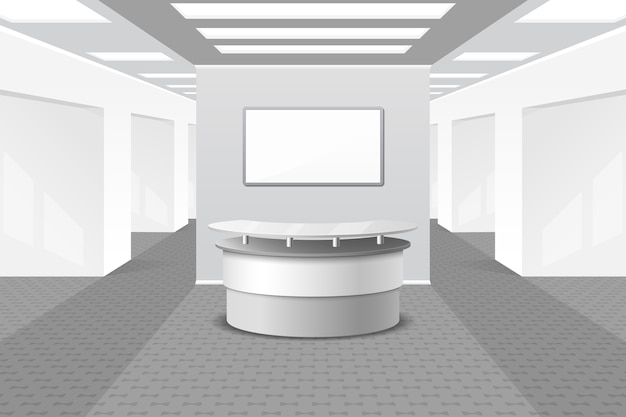 Lobby ou recepção no interior. escritório e móveis, salão de negócios, balcão no hotel,