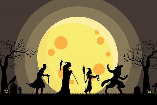 Lobisomem, bruxa, anjo da morte, dracula andando silhueta ir doces ou travessuras