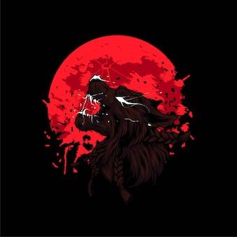 Lobisomem furioso em ilustração vetorial de lua de sangue vermelha, adequado para camisetas, roupas, impressos e produtos de mercadoria