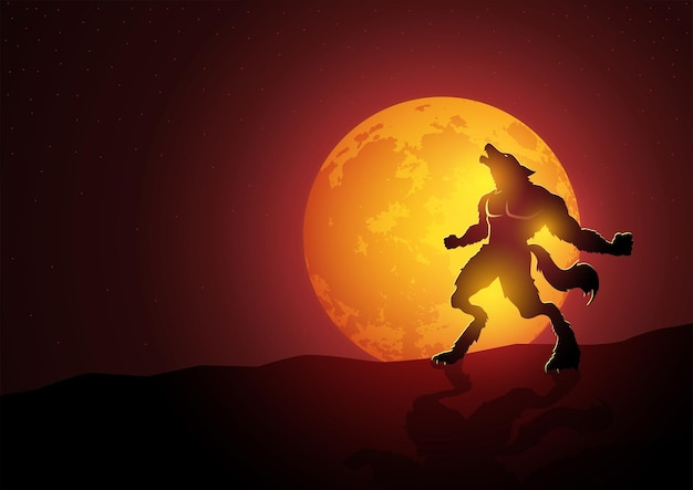 Lobisomem uivando durante a lua cheia, ilustração vetorial adequada para terror ou tema de halloween