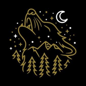 Lobo animal noite linha gráfico ilustração arte vetorial design t-shirt