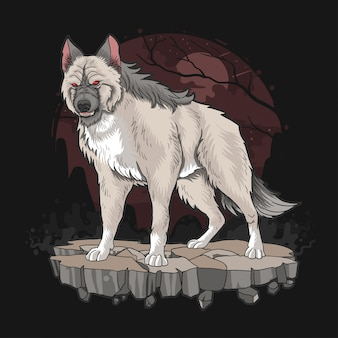 Lobo besta cão feroz Vetor Premium