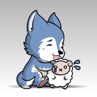 Lobo bonito dos desenhos animados