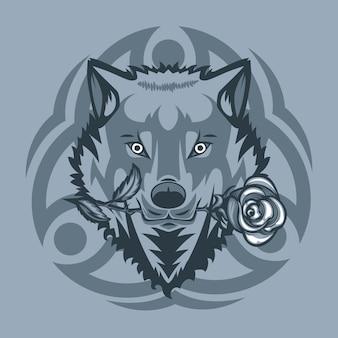 Lobo branco com uma rosa na boca e com sinal tribal por trás