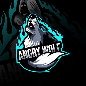 Lobo bravo mascote logotipo esport design