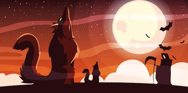 Lobo bravo uivando para a lua na cena do banner de halloween