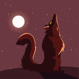 Lobo bravo uivando para a lua na cena do dia das bruxas