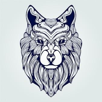 Lobo cabeça linha arte rosto decorativo de cor azul escuro com coroa única